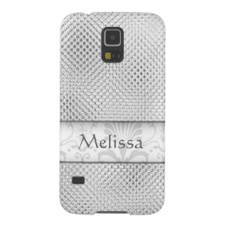 Designer Bling Damask Pattern Personalized -Silver Cases For Galaxy S5