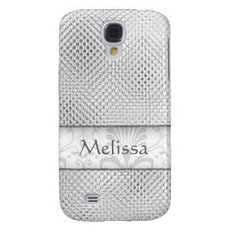Designer Bling Damask Pattern Personalized -Silver Galaxy S4 Case