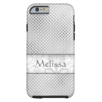 Designer Bling Damask Pattern Personalized -Silver Tough iPhone 6 Case