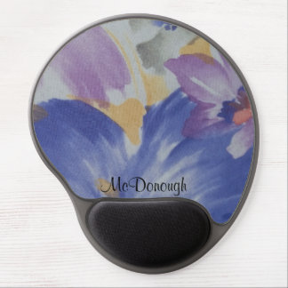 Designer Blue and Purple Flowers Watercolor Gel Mouse Pad