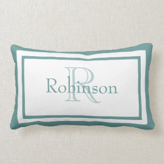 Designer Blue White Monogram Name Keepsake Pillow