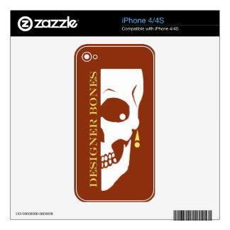 Designer Bones Skull iPhone 4 Decals