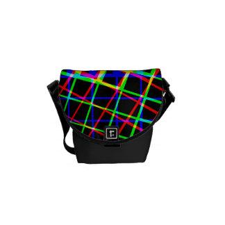 Designer Bright Lines And Squares Messenger Bag