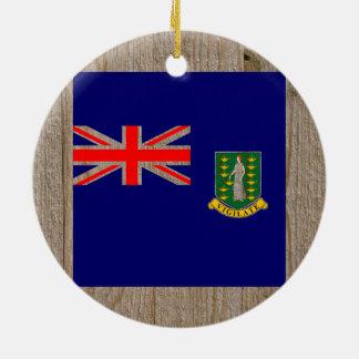 Designer British Virgin Islands Flag Box Double-Sided Ceramic Round Christmas Ornament
