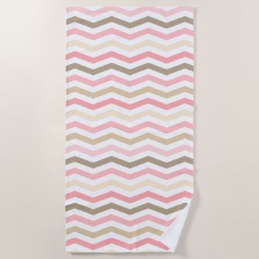 Beach Themed Designer Chevron Stripes Pattern Beach Towel