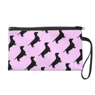 Designer Dachshund Silhouette any color Wristlet Purse