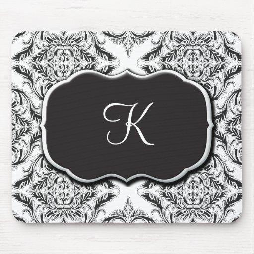 Designer Damask Motif in Black & White Mouse Pads