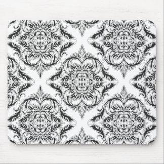 Designer Damask Motif in Black & White Mousepad