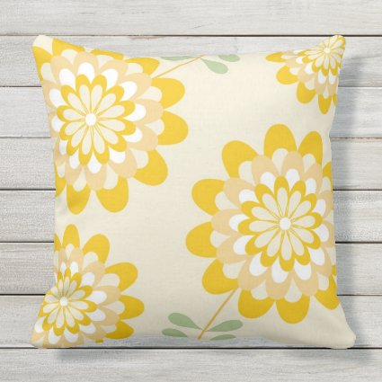 Designer Decorative Yellow Floral Throw Pillow