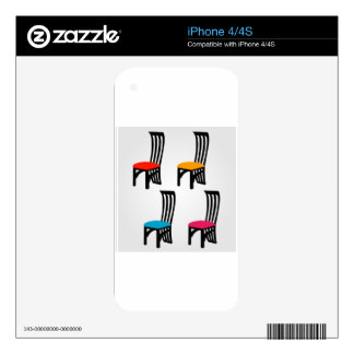 Designer dining chair graphic iPhone 4 skin