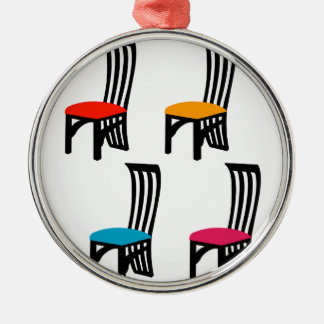 Designer dining chair graphic metal ornament