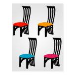 Designer dining chair graphic postcard