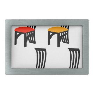 Designer dining chair graphic rectangular belt buckle