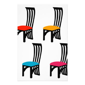 Designer dining chair graphic stationery