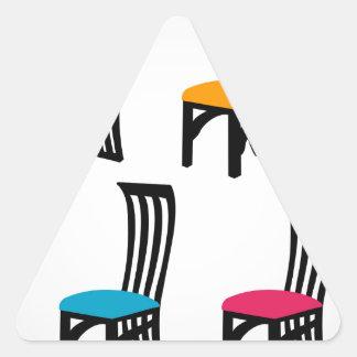 Designer dining chair graphic triangle sticker