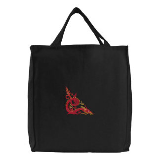 Designer Embroidered Chinese Fire Dragon Tote Bag