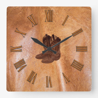 Designer Faux Tanned Leather & Cowboy Boots Square Wall Clock