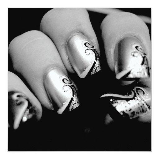 Designer Fingernails 5.25x5.25 Square Paper Invitation Card