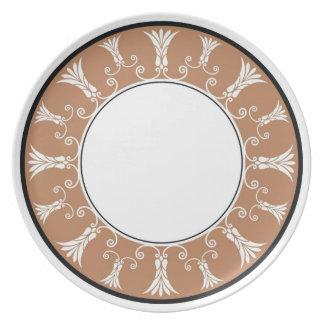 Designer Floral Border - Brown On White Plate