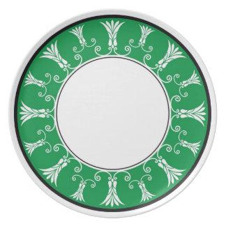 Designer Floral Border -  Green On White Plate