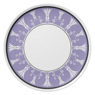 Designer Floral Border - Lavender On White Melamine Plate
