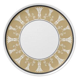 Designer Floral Border Melamine Plate