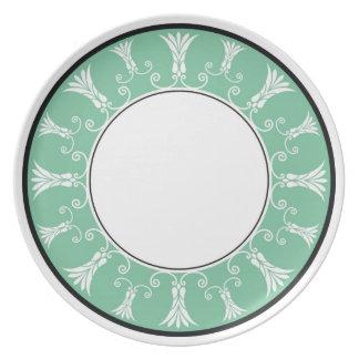 Designer Floral Border - Mint Green On White Melamine Plate