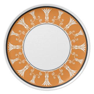 Designer Floral Border - Orange   White Melamine Plate