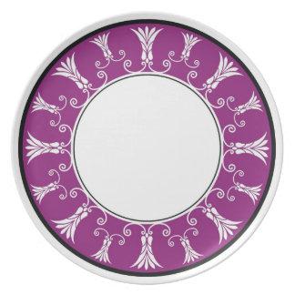 Designer Floral Border - Purple White Dinner Plate