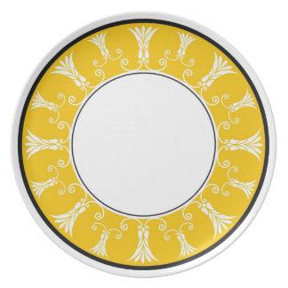 Designer Floral Border - Yellow On White Melamine Plate