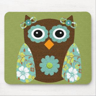 Designer Flower Owl Mouse Pad