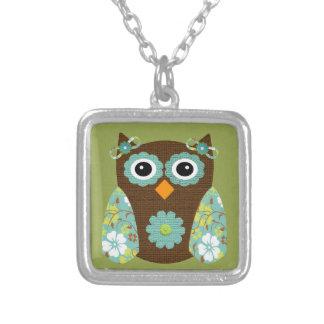 Designer Flower Owl Square Pendant Necklace
