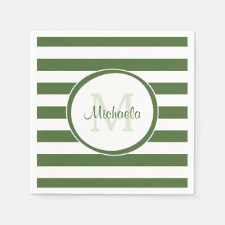 Designer Forest Green Stripes Pattern Party Name Paper Napkin