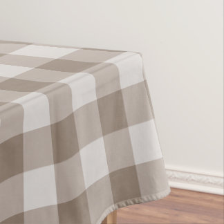 Designer Gingham Pattern Light Brown And White Tablecloth