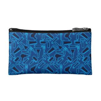 Designer Glowing Blue DIY Tools Vector Pattern Makeup Bag