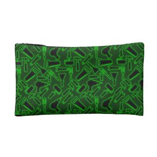 Designer Glowing Green DIY Tools Vector Pattern Cosmetics Bags