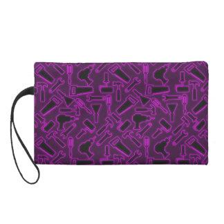 Designer Glowing Purple DIY Tools Vector Pattern Wristlet Purse