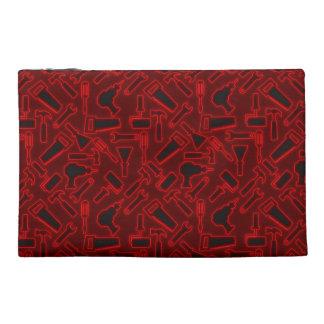 Designer Glowing Red DIY Tools Vector Pattern Travel Accessories Bag