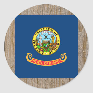 Designer Idaho Flag Box Classic Round Sticker