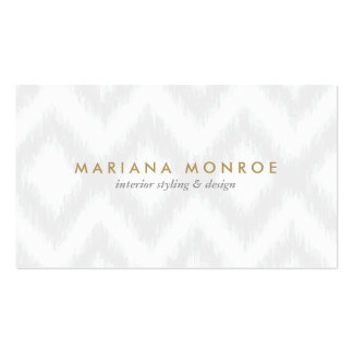 DESIGNER IKAT PATTERN in GRAY WHITE Business Card Templates