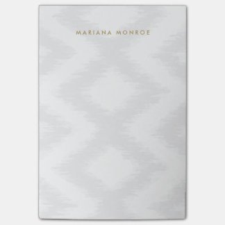 DESIGNER IKAT PATTERN in GRAY/WHITE Personalized Post-it® Notes