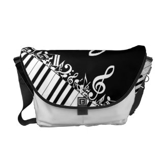 Designer Jumbled Musical Notes and Piano Keys Messenger Bag