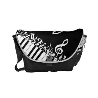 Designer Jumbled Musical Notes and Piano Keys Small Messenger Bag
