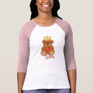Designer ladies Raglan 3/4 arm crown teddy diva T-Shirt