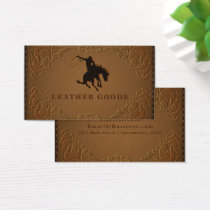Designer Leather Rustic Western Country Horse Business Card