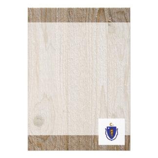 """Designer Massachusetts Flag Box 5"""" X 7"""" Invitation Card"""