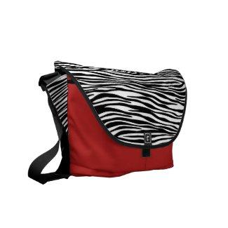 Designer Messenger Bag with Zebra Stripe Flap