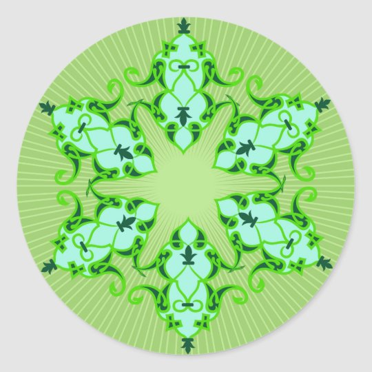 Designer Motif : Textile Print Classic Round Sticker