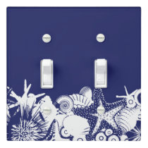 Designer Navy Blue & White Artsy Seashells Beach Light Switch Cover
