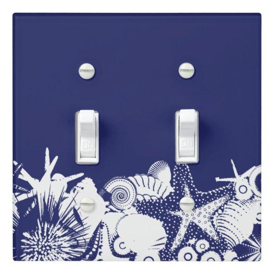 Designer Navy Blue White Artsy Seashells Beach Light Switch Cover